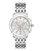 MICHELE 38mm Sidney Diamond-Dial Chronograph Watch, Silver