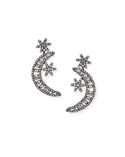 Crystal Moon & Star Earrings