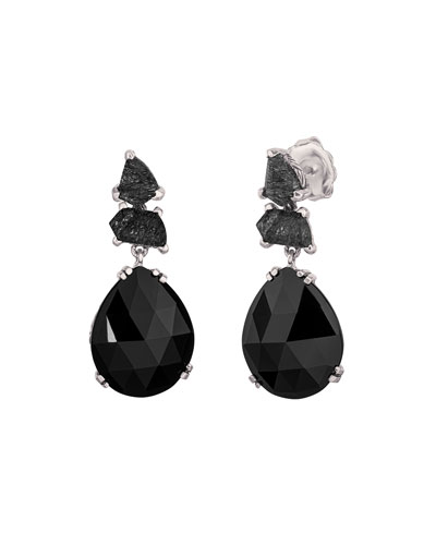 Black Rutilated Quartz Pear Drop Earrings