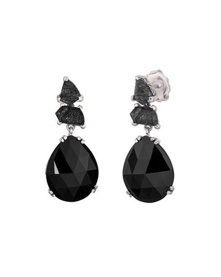 Stephen Dweck Black Rutilated Quartz Pear Drop Earrings