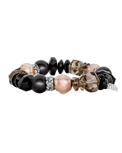 Black Agate, Smoky Quartz & Mother-of-Pearl Stretch Bracelet