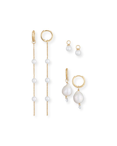 Build-Your-Own Pearl Huggie Hoop Earring Set