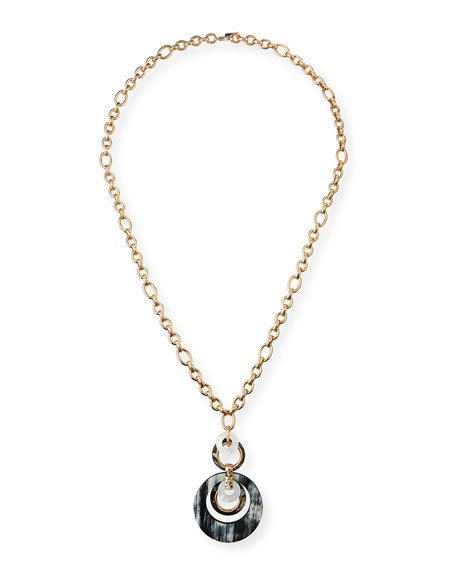 Akola Long Horn Pendant Necklace