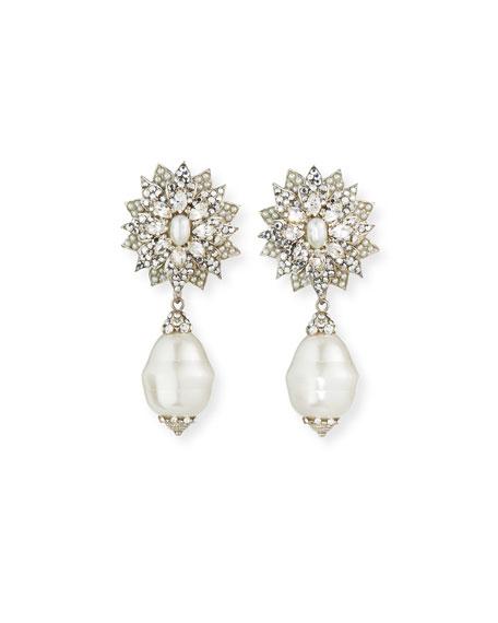 Jose & Maria Barrera Cluster Flower Clip-On Drop Earrings