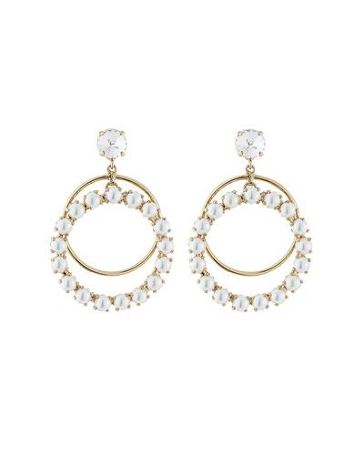 Zsa Zsa Crystal Hoop-Drop Earrings, Pearly