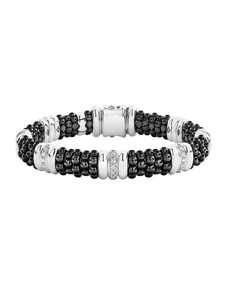 "Lagos Black Caviar Diamond 7-Station Bracelet, Size 6"" - 8""L"