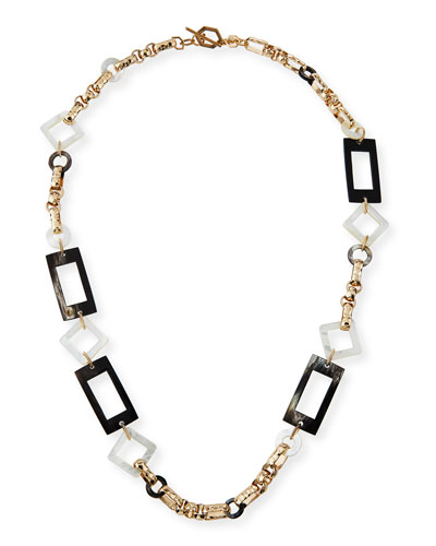 Long Horn & Mother-of-Pearl Chain Necklace