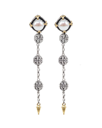 Kleos 8mm Pearl-Post Spike-Dangle Earrings