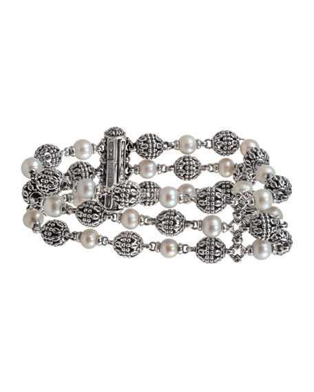 Konstantino Kleos 3-Row Pearl Bracelet