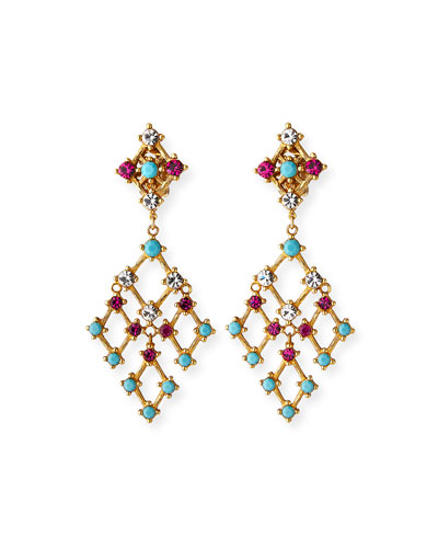 Lattice Drop Clip Earrings