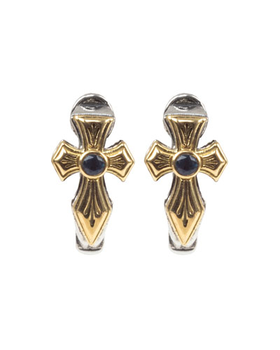 Kleos Blue Topaz Cross Huggie Earrings w/ 18k Gold