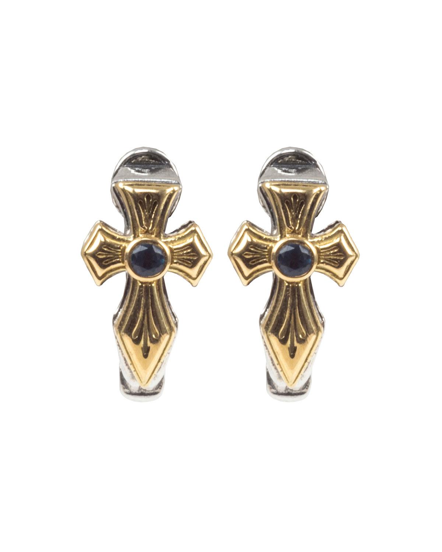 Kleos Blue Topaz Cross Huggie Earrings w/ 18k Gold