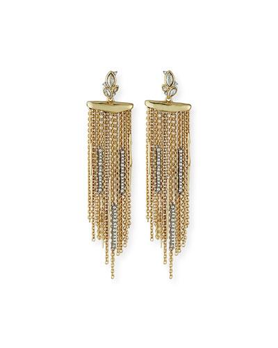 Navette Crystal Cluster Post Fringe Earrings