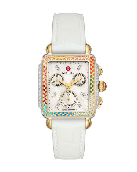 MICHELE Deco Carousel Diamond Silicone Watch
