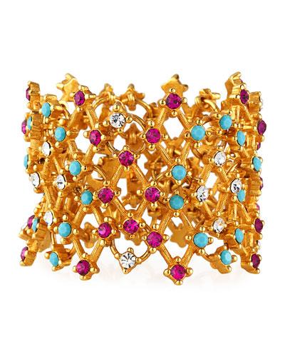 Lattice Multicolor Crystal Bracelet