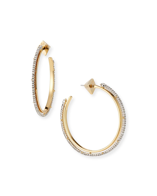 Two-Tone Crystal Encrusted Spiked Hoop Earrings
