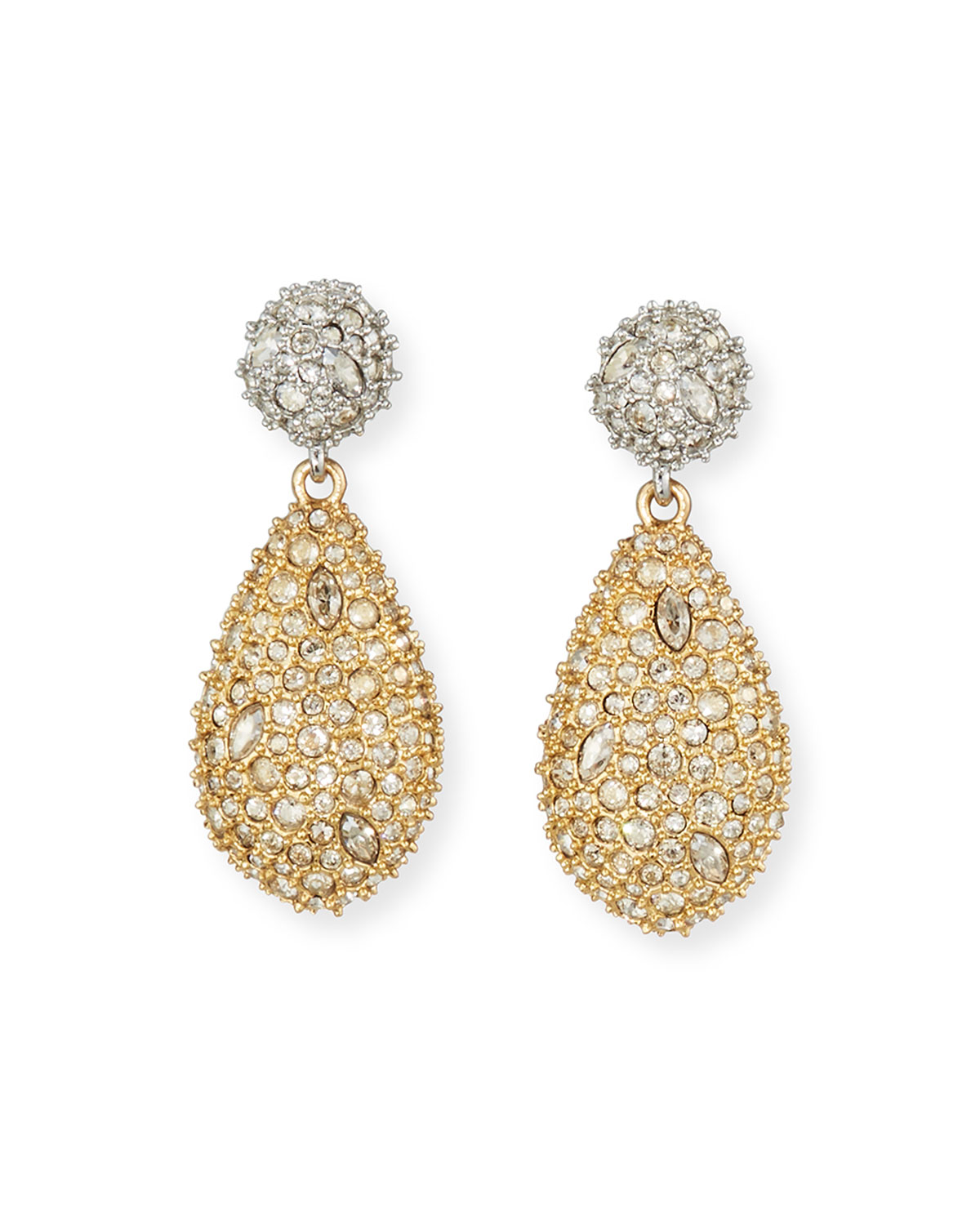 Two-Tone Pave Drop Earrings