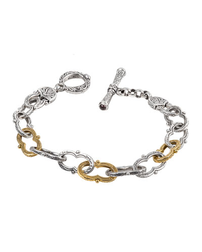 Kleos Silver Figure 8-Link Bracelet w/ 18k Gold