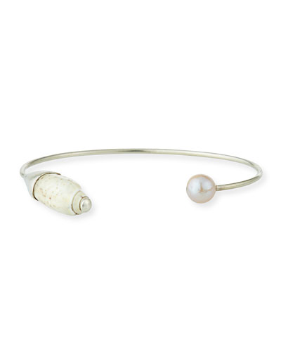 Natural Pink Pearl & Hispidula Shell Cuff