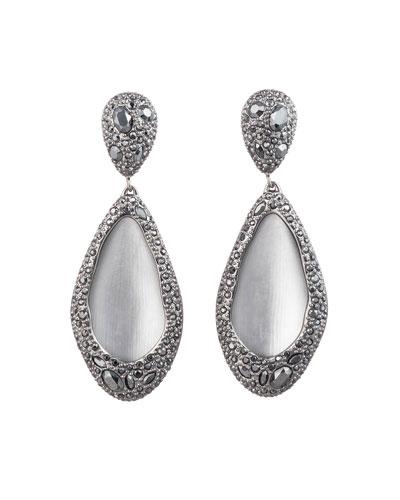 Crystal Encrusted Teardrop Clip Earrings, Gray