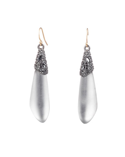 Crystal Encrusted Capped Wire Earrings, Gray