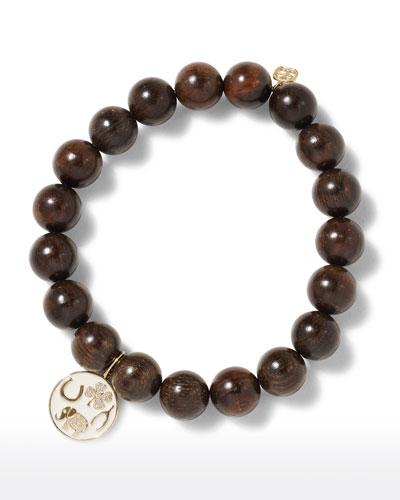 14k Diamond Luck Tableau & Ebony Bracelet