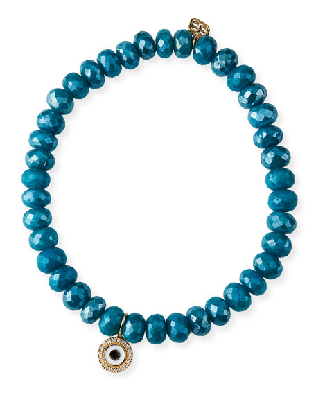 Sydney Evan 14k Teal Quartz Evil Eye Disc Bracelet