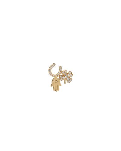 14k Diamond Luck & Protection Stud Earring, Single
