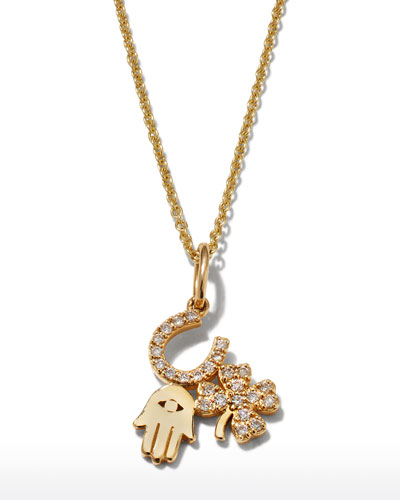 14k Diamond Luck & Protection Trio Necklace
