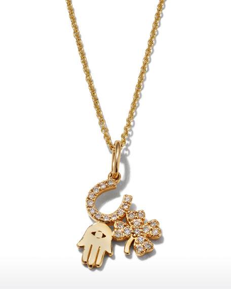 Sydney Evan 14k Diamond Luck & Protection Trio Necklace