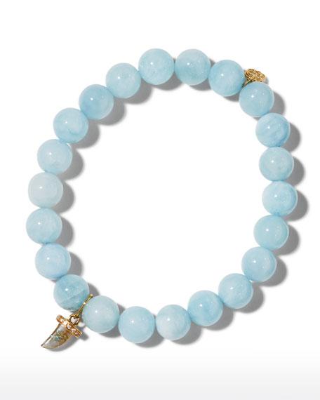 Sydney Evan 14k Diamond Eyelash Evil Eye Aquamarine Bracelet