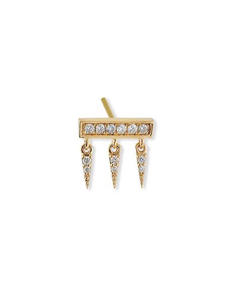 Sydney Evan 14k Diamond Pave Bar Fringe Stud Earring, Single