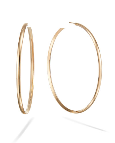 14k Wide Curve Royal Hoop Earrings, 80mm