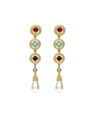 3-Stone Pearly Dangle Clip Earrings