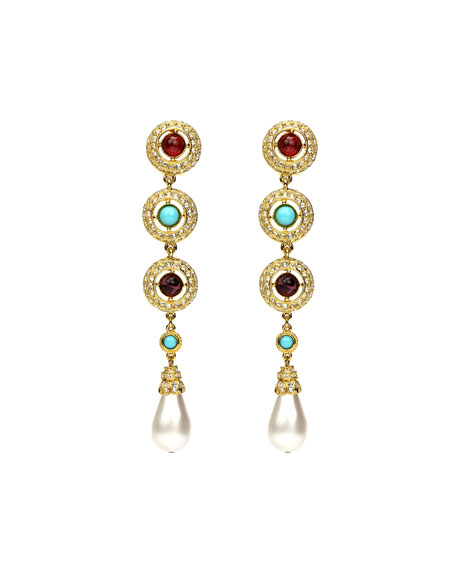 Ben-Amun 3-Stone Pearly Dangle Clip Earrings