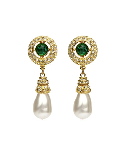 Green-Stone Pearly Dangle Clip Earrings
