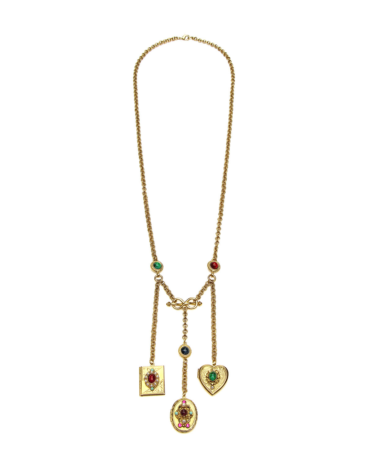 Ben-Amun three-locket pendant necklace. 24-karat yellow gold electroplated hardware. Three lockets: Rectangular, oval and heart lockets. Glass stones, turquoise-hued stone and glass pearls. Approx. 27\