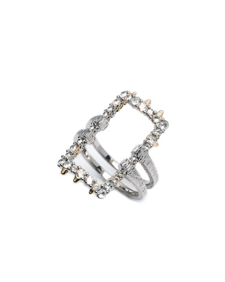 Alexis Bittar Crystal Encrusted Oversized Link Ring, Size 6-8