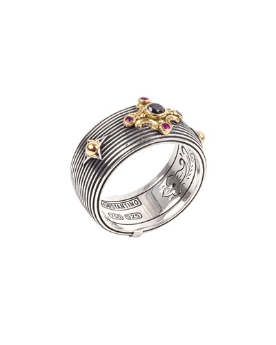 Delos Black Diamond & Ruby Cigar Band Ring, Size 7