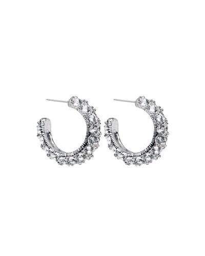 Crystal Hoop Earrings, Silver