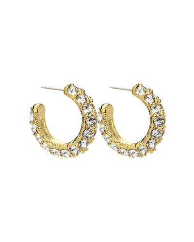 Crystal Hoop Earrings, Gold