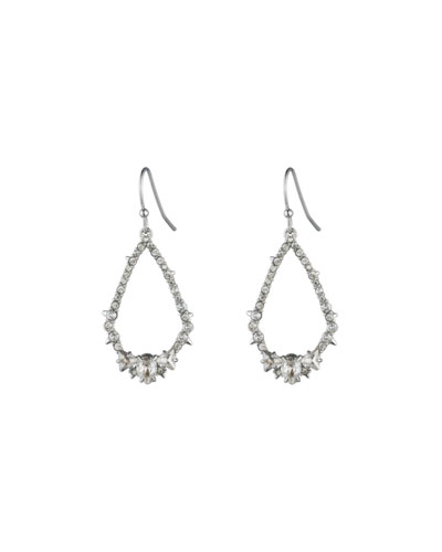 Crystal Encrusted Spiked Teardrop Earrings, Silver