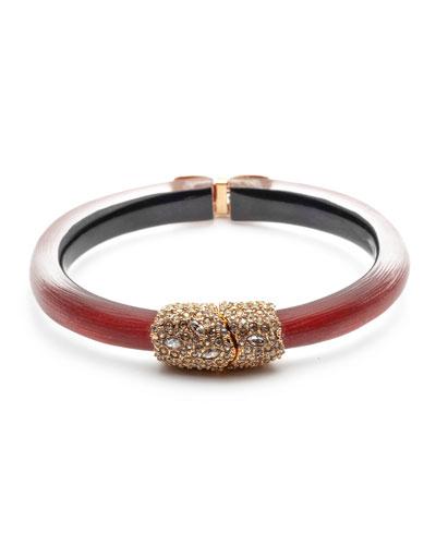 Crystal Encrusted Clasp Skinny Hinge Bracelet, Wine