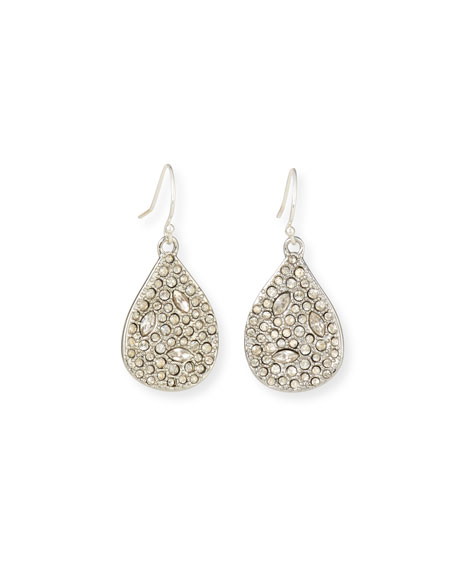Alexis Bittar Crystal Encrusted Tear Drop Wire Earrings, Silver