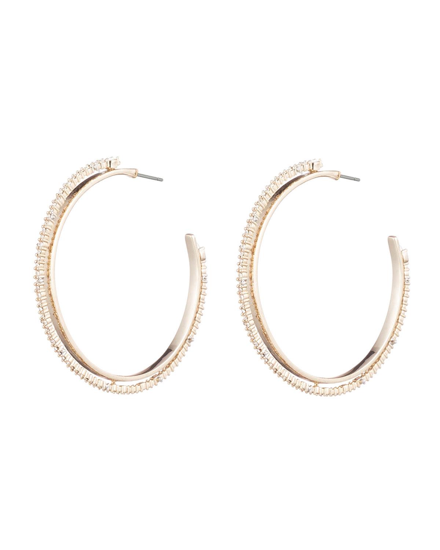 Crystal Encrusted Spiked Hoop Earrings