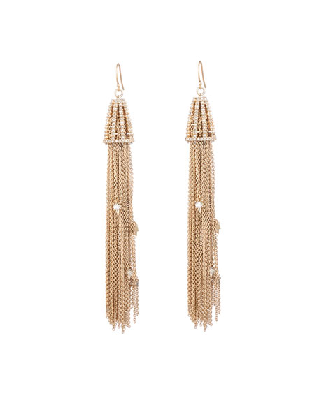 Alexis Bittar Crystal Wire Tassel Earrings, Gold