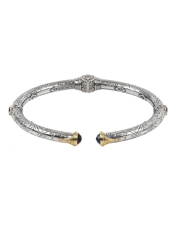 Delos Hinged Corundum & London Blue Topaz Bracelet
