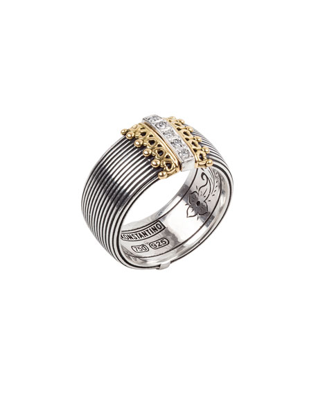 Konstantino Delos 5-Diamond Cigar Band Ring, Size 7