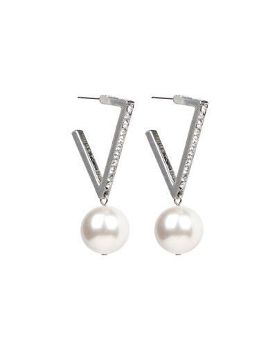 Angular Crystal Hoop Pearly-Drop Earrings