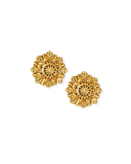 Jose & Maria Barrera Textured Round Button Clip Earrings
